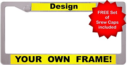 Custom Personalized Plastic Chrome-Plated Car License Plate Frame with FREE caps - Yellow/Black