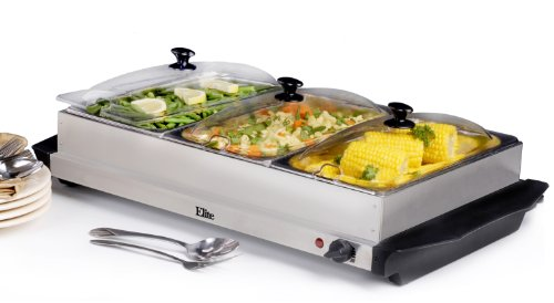 Elite Platinum EWM-6171 Maxi-Matic 2.5QT 3 Tray Warming Buffet Server Deal (Large Image)