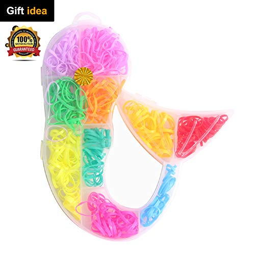 DIY Rainbow Loom Bands Elastic Hair Ties Rubber Hair Bands Set Butterfly Heart Mermaid Violin Shaped Storage for Baby Girls Kids Party Festival Around 400-500 Count (Mermaid) for $<!--$6.99-->
