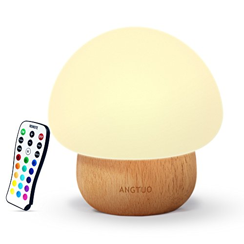 Night Lights for Kids, ANGTUO Baby LED Mushroom Night Lamp, Soft Silicone Lampshape, 100% Rubber Wood, 4 Light Modes and 16 Color by Wireless Remote - US (Wooden Nursery Lamp)