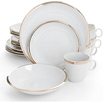 Isaac Mizrahi Skyline 16 Piece Porcelain Dinnerware Set Gold and White  sc 1 st  Amazon.com & Amazon.com | Safdie \u0026 Co. HK02357 Rose Gold Foliage Dinnerware Set ...