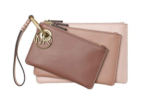 Michael Kors Tri-Color Leather Pouch Trio Clutch Wristlet (Soft ()