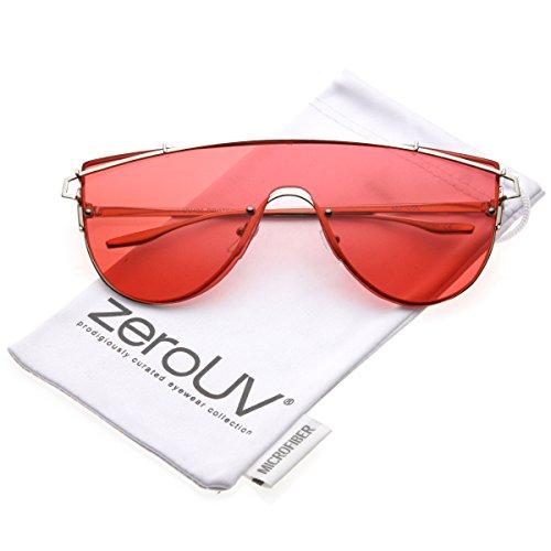 zeroUV - Futuristic Rimless Metal Crossbar Colored Mono Lens Shield Sunglasses 62mm (Silver / - 62 Size Sunglasses