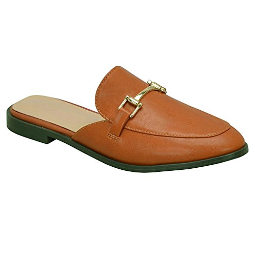 SNJ Women Mule Oxford Slide Slip On Flat Sandal Shoe Loafer Tan