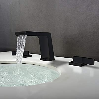 BULUXE Waterfall Bathroom Sink Faucet in Matte Black, Contemporary Waterfall Double-Handle Widespread Bathroom Sink Faucet Solid Brass