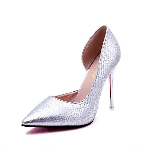hauts mince Silver Sexy uniques et automne Printemps 10CM haut pour Nightclub taille 36 Pointue LBDX chaussures Silver Couleur talons talon femmes argent chaussures 0zPBw