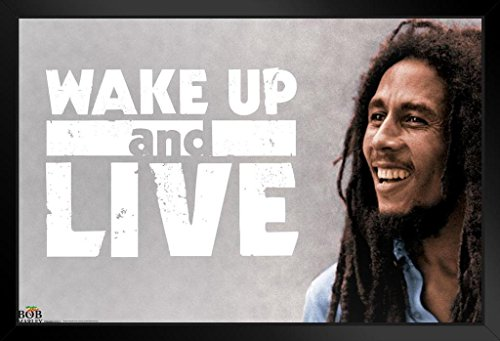 (Pyramid America Bob Marley Wake Up and Live Jamaican Reggae Singer Song Writer Music Legend Icon Framed Poster 14x20 inch)