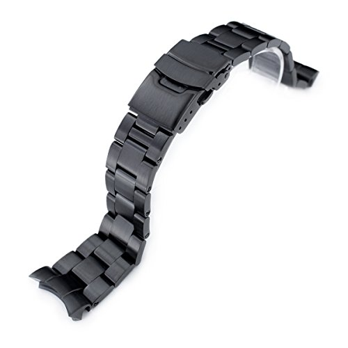 - 22mm Super Oyster Watch Band, Replacement for SEIKO SKX007, SKX009, SKX011, PVD Black