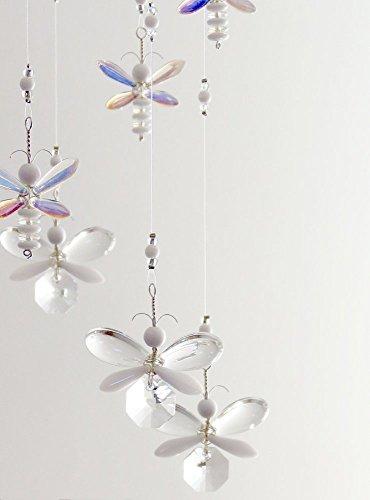 Baby Room Mobile Nursery Decor Idea Fairy Mobile White Butterfly Swarovski Crystal Suncatcher Hanging Mobile Baby Girl Mobile Crystal Garland Mobile Suncatcher by MobileSuncatchers