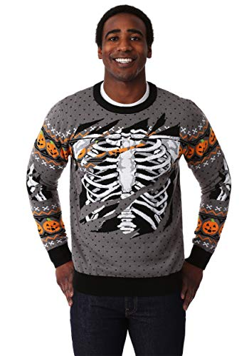 Halloween Skeleton Sweater (Adult Ripped Open Skeleton Halloween Sweater)