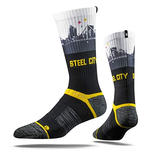 (NFL Pittsburgh Steelers Adult Steel City View Strapped Fit 2.0 Socks, One Size, Charcoal/White)