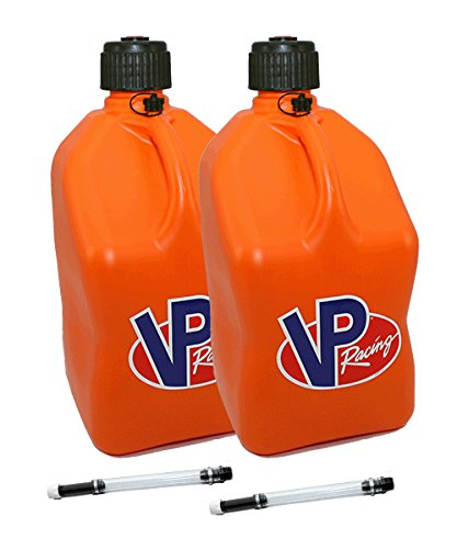 Quick Fill Stand - 2 Pack VP 5 Gallon Square Orange Racing Utility Jugs with 2 Deluxe Filler Hoses