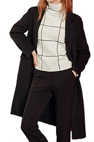 Down Outwear Lapel Long Elegant Office OL Trechcoat Black Warm Women Button t7wq5xtz