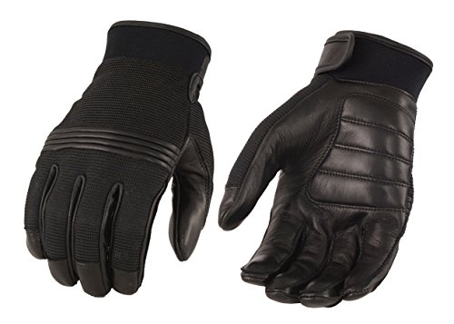M-BOSS Motorcycle Apparel-BOS37530-BLACK-XL-Men's Leather/Mesh Perforated Glove w/Gel Palm & Flex Knuckles -BLACK-XL