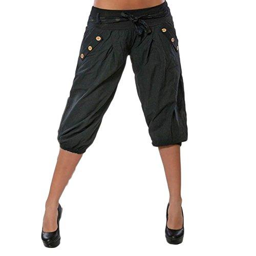 Monocromo Accogliente Pantaloni Eleganti Style Tasche Con Pantalone Moda Inclusa Baggy Libero Nero Nahen Festa Primaverile Estivi Harem Tempo Taille Donna 4 Cintura 3 Streetwear Swag X5qwn8qH