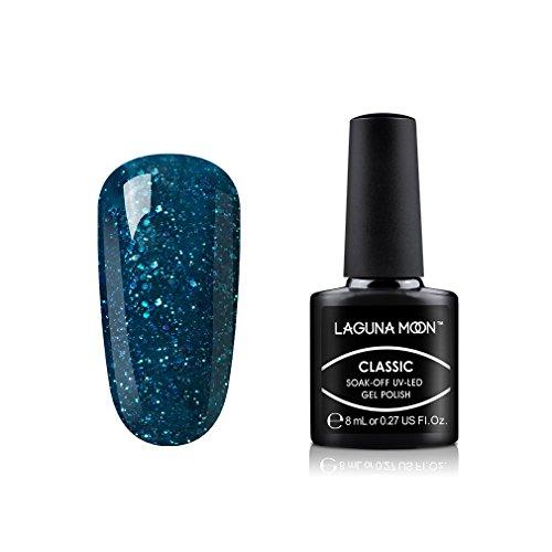 : Lagunamoon Gel Nail Polish Soak Off UV LED Gel Lacquer Nail Art Manicure Glitter Clear non toxic nail polish Out Of Darkness