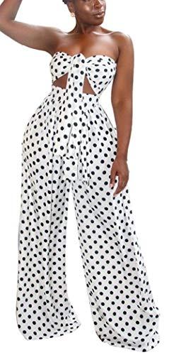 Womens Sexy 2 Piece Oufiits Polka Dot Strapless Front Tie Crop Top High Waist Wide Leg Long Pants Set White