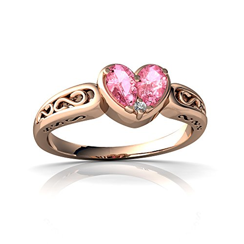 14kt Rose Gold Lab Pink Sapphire and Diamond 5x3mm Pear filligree Heart Ring - Size 8