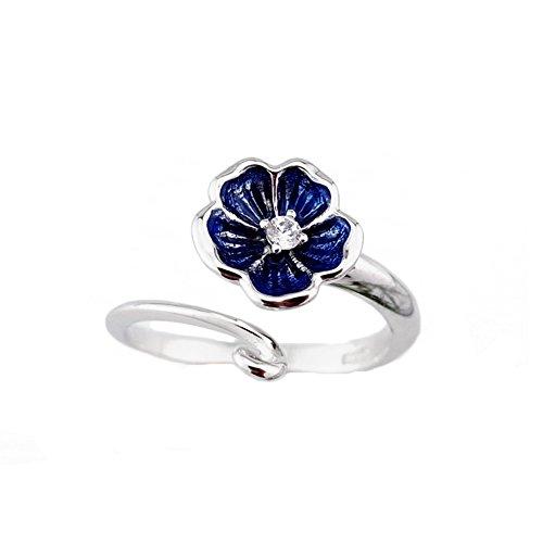 - SUNDAYROSE Womens 925 Silver Floral Adjustable Opening Ring - Gift Box Packaging