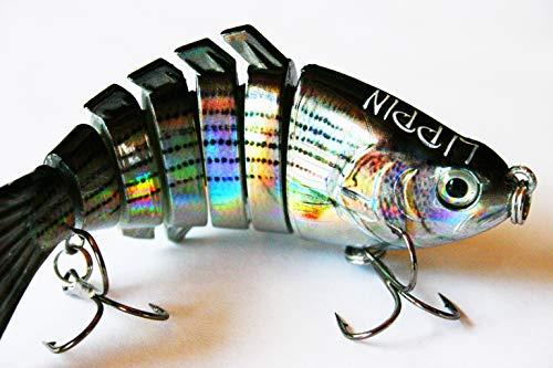 Lippin 4 inch 7-Segment Realistic Bass Fishing Lures, Trout Lures, Top Water Swimbaits, Hard Crankbaits (Rainbow Metallic)