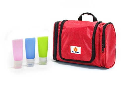 Pick-A-Pack Toiletry Cosmetic Bag-Waterproof Hanging Travel Toiletries Bag W/ Handle+ Travel Bottles Set-Travel In Top Convenience & Organization Of Your Essentials (red)