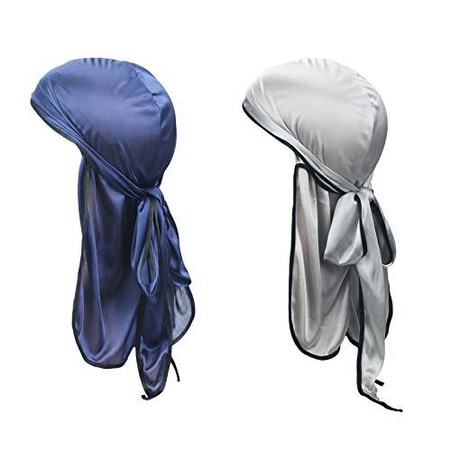 PLOVZ 2 Pack Men's Women's Silk Accent Durag Cap Headwraps Mixed Colors (Navy and ()