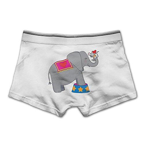 Pjiqe Circus Elephant With A Mouse Men's Underwear Cotton Comfortable Boxer Briefs M White
