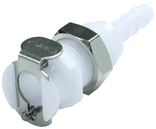"Colder PMC1602 Acetal Tube Fitting, Coupler, Straight Thru, Panel Mount, 1/8"" Flow Coupler x 1/8"" Barb"