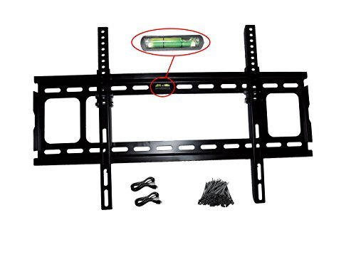 Low Profile Tilting TV Wall Mount Bracket for 32-80'' TVs up to 90lbs w/VESA patterns up to 600 x 400mm, and Includes Two 6' HDMI Cables, a Pack of 100 Zip Ties and a Bubble Leveler (Black) by ABP Digital