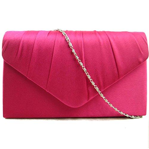 New Clutch Fuchsia Ladies Evening Women Bridal Pleated Party Zarla Prom Bags UK Envelope Satin ZXBqXwd