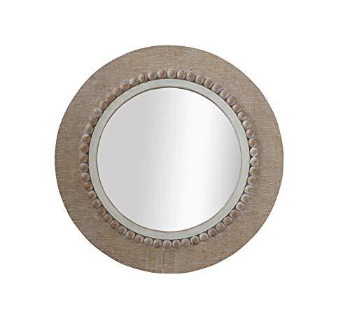 Creative Co-Op Round Decorative Wood Wall Mirror (Brown Mirror Round Wall)