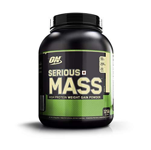 OPTIMUM NUTRITION Serious Mass High Calorie Weight Gain/Muscle Gain Protein Powder, Vanilla - 6 Pound (Best Supplements To Gain Muscle Mass)