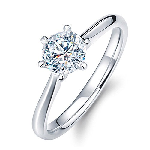 Classic Six Claw 1 Carat 6mm Zircon Wedding Rings for women Jewelry silver color Engagement rings female Anel Bijoux - Six Anel