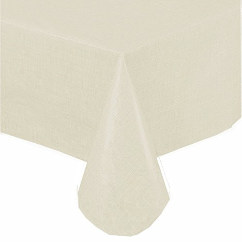 (Premium Solid Color Vinyl Flannel Backed Tablecloth 70 Inch Round - Ivory)