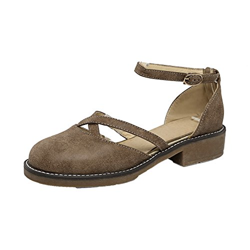 Allhqfashion Donna Fibbia Tacco Basso Pu Tinta Unita Scarpe Tacco-scarpe Marrone