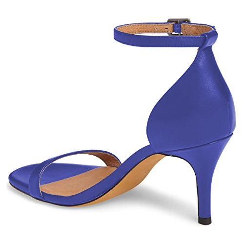 Comfort Shoes Women Strap Heels Stiletto Sexy Size Sandals 4 FSJ US 15 Cocktail Ankle Open Toe Blue Party 1q7fWWPRn