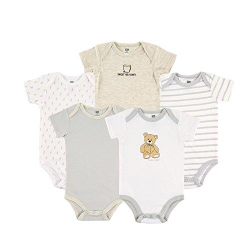 HUDSON BABY Unisex Baby Cotton Bodysuits, Bear 5 Pack, 9-12 Months ()