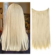 Long Halo Hair Extensions Secret Wire Headband Pale Ash Blonde Straight Synthetic Hairpieces 18 I...