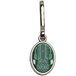 Graphics and More Empty Circuit Board Design Antiqued Oval Charm Clothes Purse Luggage Backpack Zipper Pull