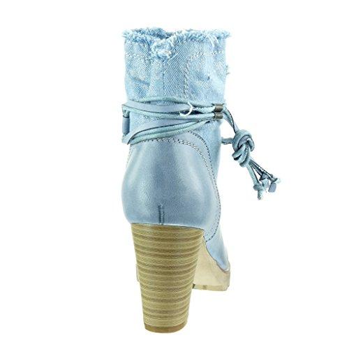 Scarponcini Moda Blu Stivaletti nodo a Angkorly tanga alto blocco bi 8 donna Scarpe materiale camouflage CM cavalier Tacco tpxwq5CTw