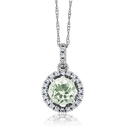 Green Amethyst Diamond Pendant (14K White Gold Diamond Halo Pendant with 1.07 Ct Round Green Amethyst)