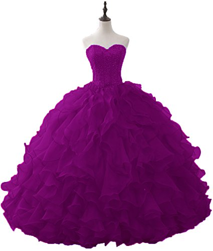 OkayBridal Women's Quinceanera Dresses Purple Organza Ruffles with Beaded Puffy for Sweet 16 Ball Gowns Size 22W