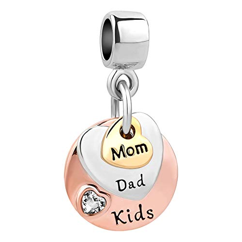 CharmSStory Family Mom Dad Kids Child Rose Gold Charms Beads for Bracelets Necklaces (Mom Dad Kids)