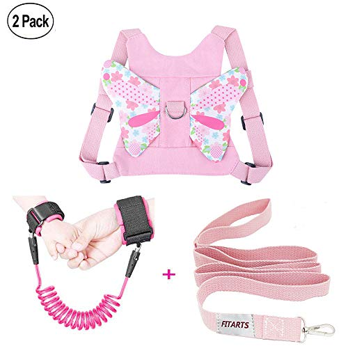 - Anti Lost Wrist Link + Toddlers Leash 2 packs Child Walking Safety Harness Kids Wristband Assistant Strap Belt (Butterly pink)
