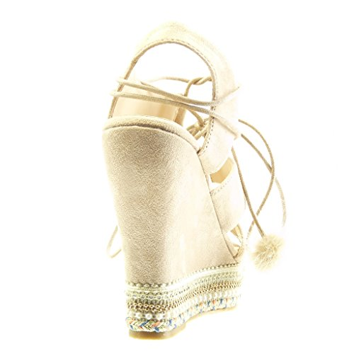 Angkorly - Scarpe da Moda sandali Espadrillas zeppe aperto donna perla intrecciato pon pon Tacco zeppa piattaforma 13 CM - Beige