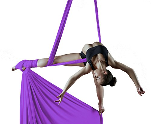 Orbsoul Complete Aerial Silks Deluxe Equipment Set - Everything You Need (Includes Premium Tricot Silks, Hardware and Set-Up Guide) (Lush Lavender)