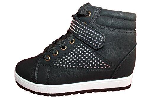 ml shoes-baskets compensées à strass-noire-femme ou ados