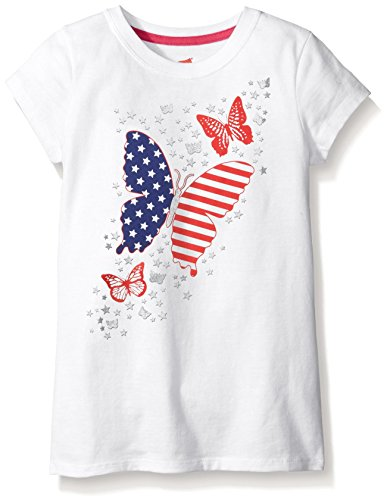 Hanes Big Girls Short Sleeve Graphic Tee, White Butterfly Flag, Medium Butterfly Graphic Tee