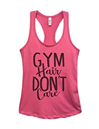"Funny Women's Work Out Tanks ""Gym Hair Dont Care"" - Yoga Royaltee Tank Tops Large, Pink"