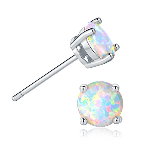 GEMSME 18K White Gold Plated 6mm Round White Opal Stud Earrings For Women